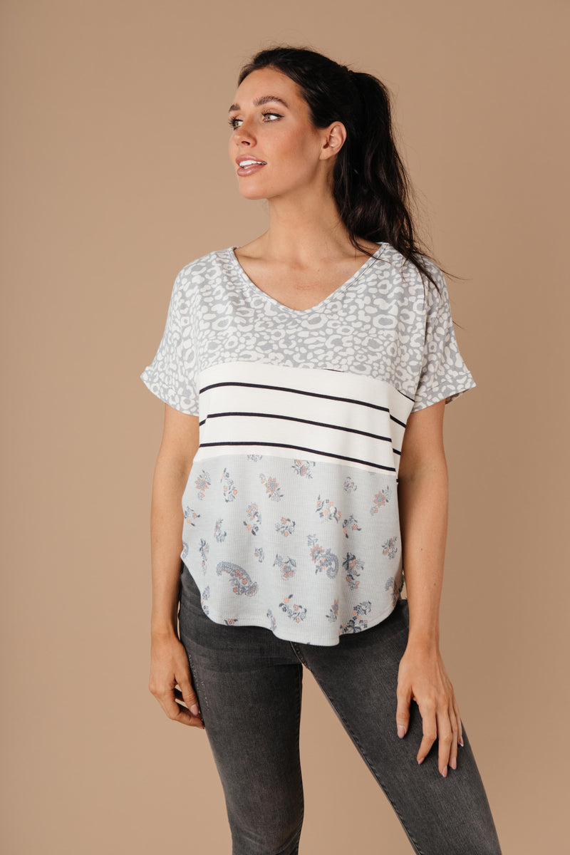 All Mixed Up Top In Gray-1XL, 2XL, 3XL, 8-18-2020, 8-28-2020, Bonus, Group A, Group B, Group C, Group D, Large, Medium, Plus, Small, Tops, XL, XS-Womens Artisan USA American Made Clothing Accessories