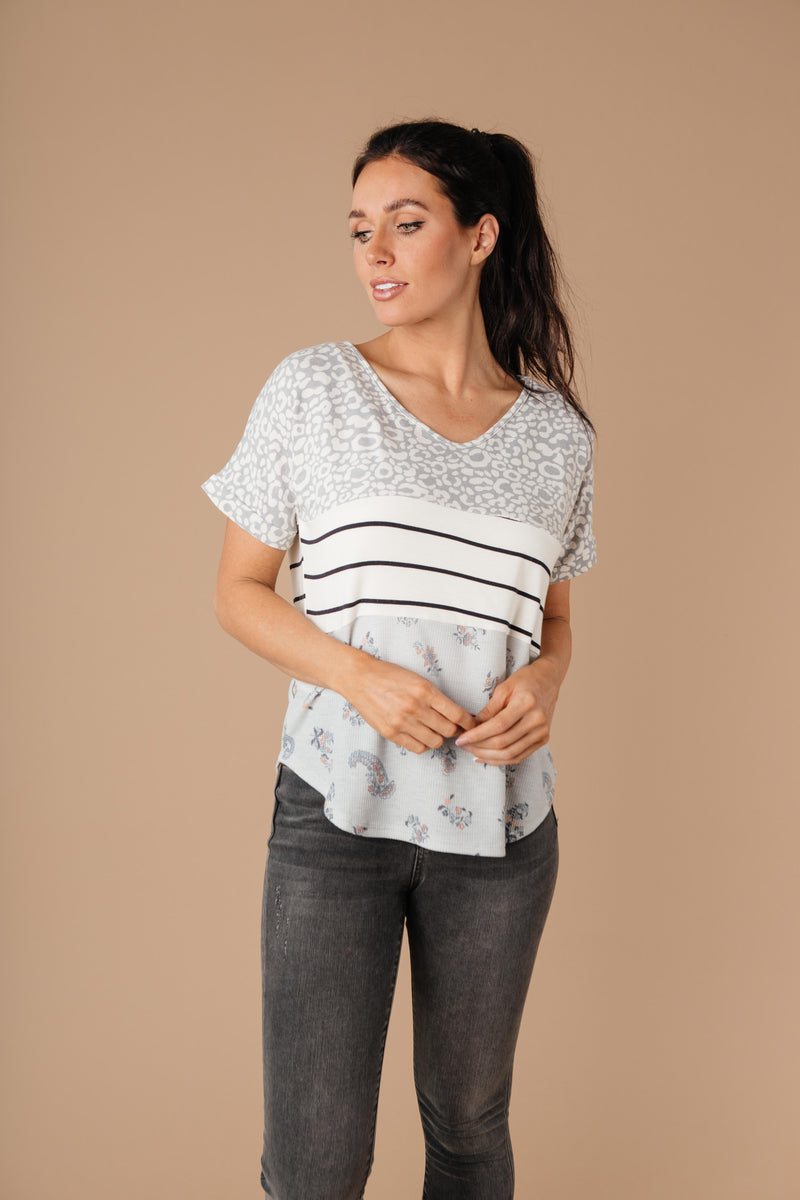 All Mixed Up Top In Gray-1XL, 2XL, 3XL, 8-18-2020, 8-28-2020, BFCM2020, Bonus, Group A, Group B, Group C, Group D, Group T, Large, Medium, Plus, Small, Tops, XL, XS-Womens Artisan USA American Made Clothing Accessories