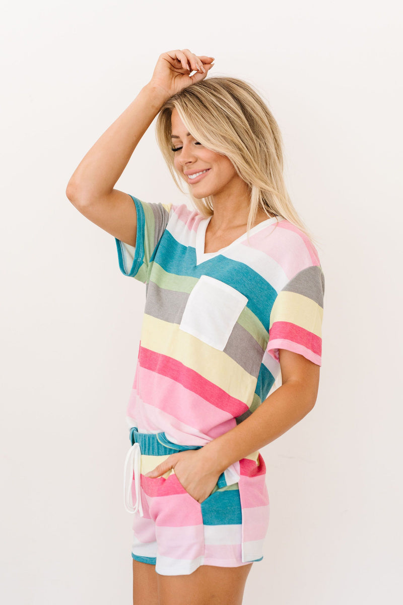Aurora Striped V-Neck-1XL, 2XL, 3XL, 8-26-2020, BFCM2020, Final Few Friday, Group A, Group B, Group C, Group D, Group T, Large, Made in the USA, Medium, Plus, Small, Tops, XL, XS-Womens Artisan USA American Made Clothing Accessories