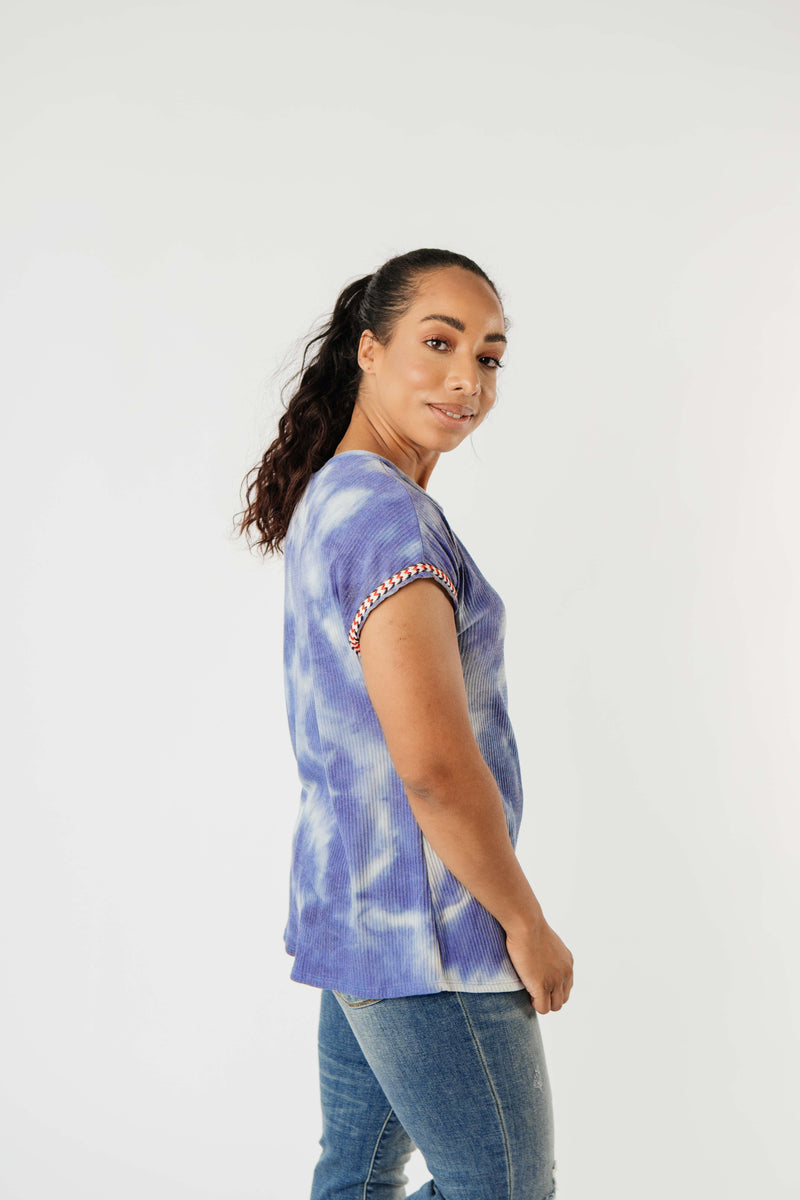 Reflections On Blue Water Top - On Hand-1XL, 2XL, 3XL, 8-13-2020, BFCM2020, Group A, Group B, Group C, Group D, Group T, Large, Made in the USA, Medium, On hand, Plus, Small, Tops, XL, XS-Small-Womens Artisan USA American Made Clothing Accessories