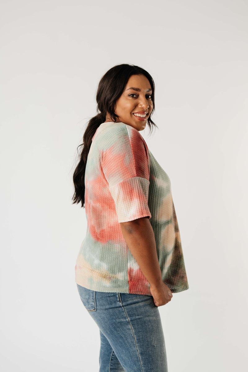 Waffle Knit Tie Dye Top In Sunrise - On Hand-1XL, 2XL, 3XL, 8-18-2020, BFCM2020, Group A, Group B, Group C, Group D, Group T, Large, Medium, On hand, Plus, Small, Tops, XL, XS-Small-Womens Artisan USA American Made Clothing Accessories