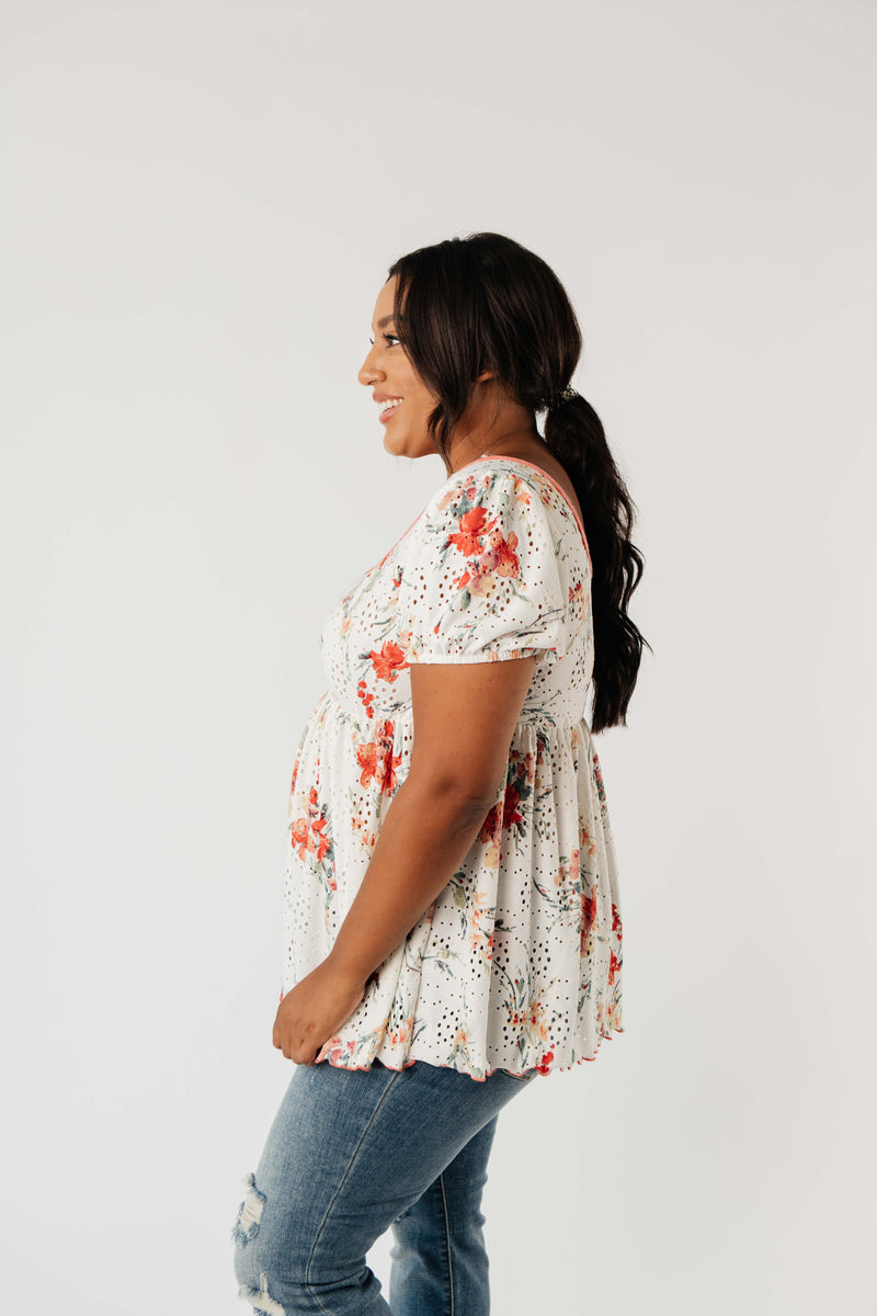 You're A Sweetheart Floral Top - On Hand-1XL, 2XL, 3XL, 8-18-2020, BFCM2020, Group A, Group B, Group C, Group D, Large, Medium, On hand, Plus, Small, Tops-Medium-Womens Artisan USA American Made Clothing Accessories