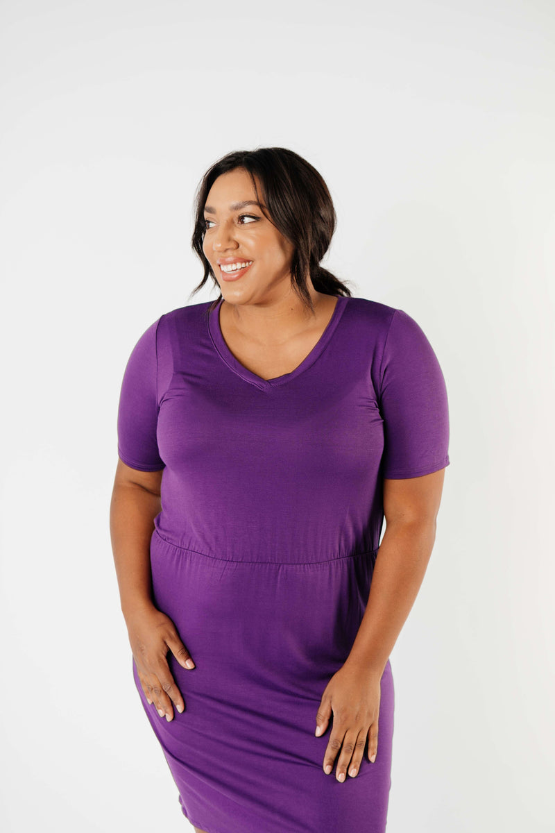 Cute Comfort Dress In Purple - On Hand-1XL, 2XL, 3XL, 8-13-2020, BFCM2020, Dresses, Group A, Group B, Group C, Group D, Group T, Group V, Large, Made in the USA, Medium, Plus, Small, XL, XS-Womens Artisan USA American Made Clothing Accessories