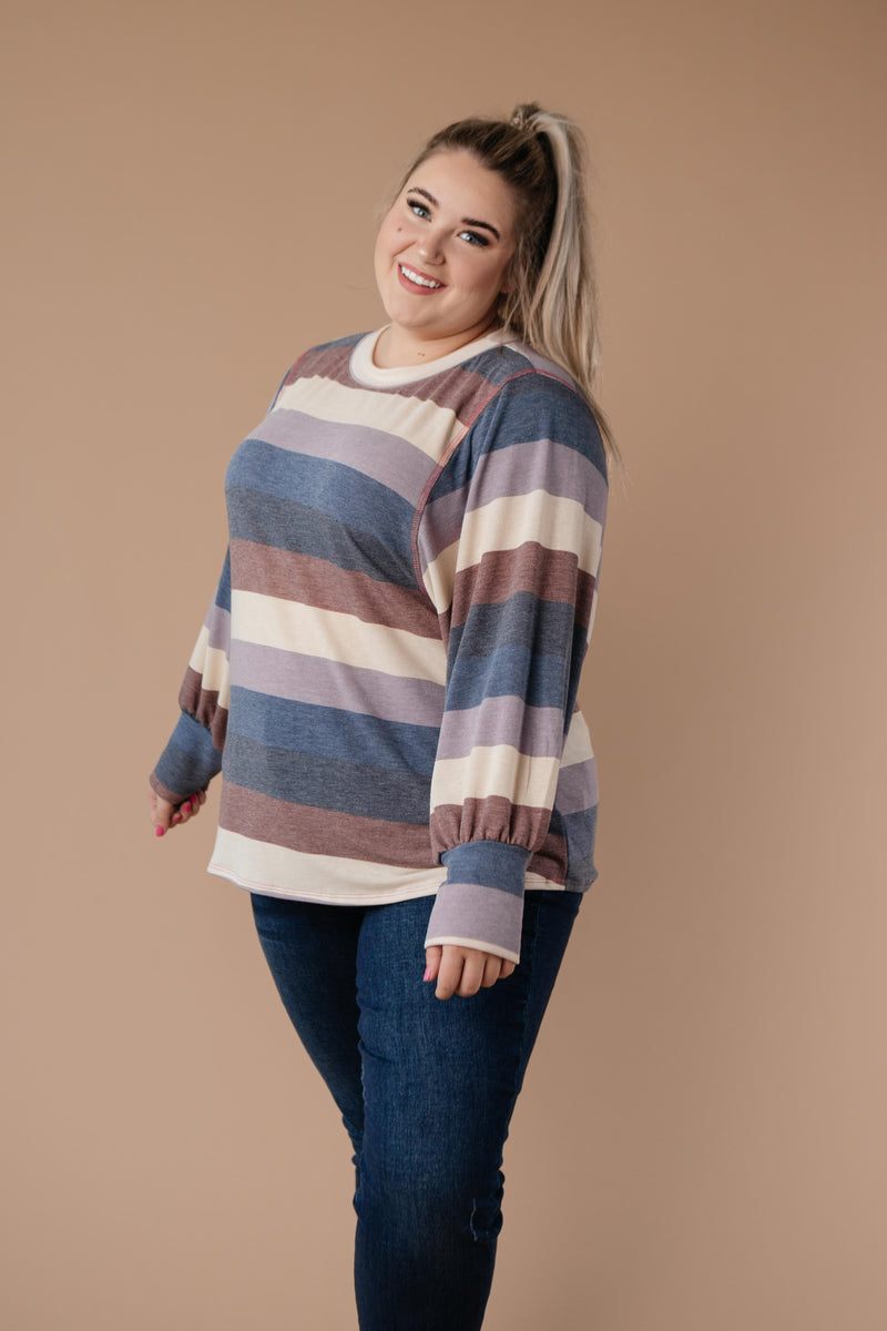 Balloon Sleeve Striped Top-1XL, 2XL, 3XL, 9-3-2020, Group A, Group B, Group C, Group D, Large, Medium, Plus, Small, Tops, XL, XS-Womens Artisan USA American Made Clothing Accessories