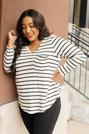 Basically Striped Long Sleeve Top in Ivory and Black - On Hand-10-15-2020, 1XL, 2XL, 3XL, BFCM2020, Group A, Group B, Group C, Group D, Large, Made in the USA, Medium, Plus, Small, Tops, XL, XS-XS-Womens Artisan USA American Made Clothing Accessories