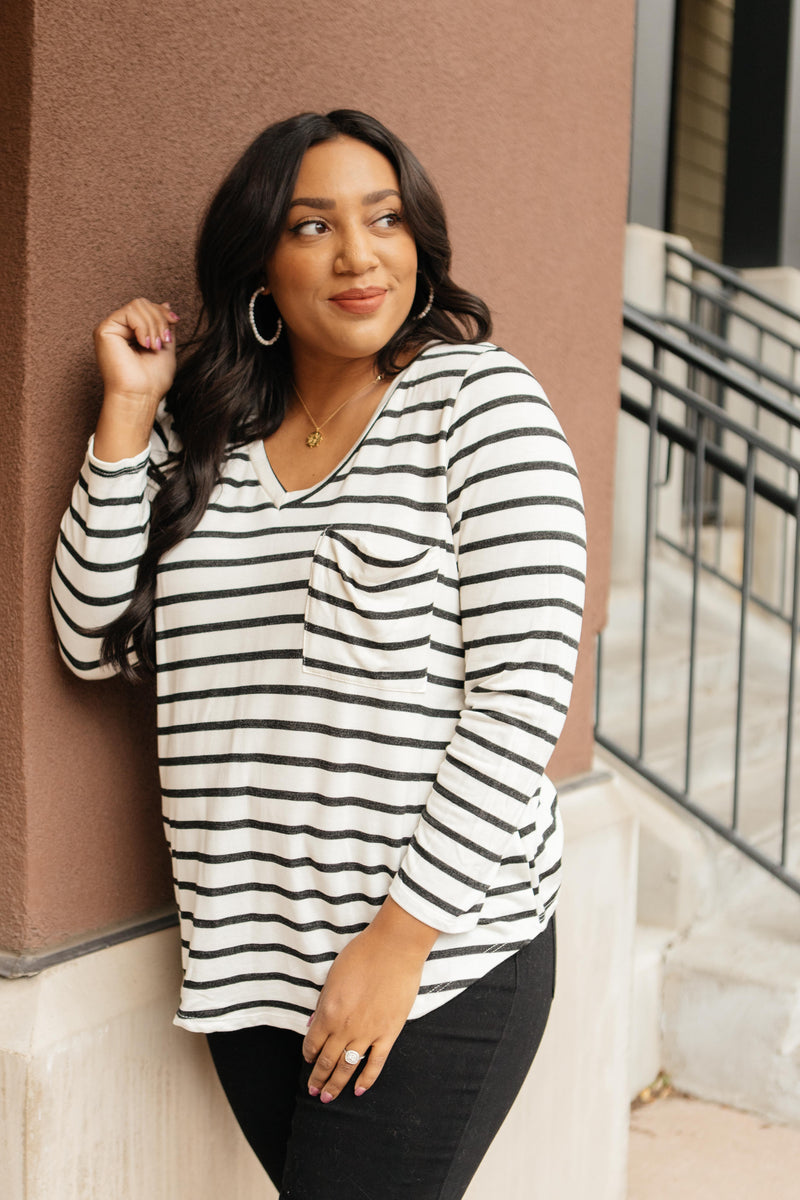 Basically Striped Long Sleeve Top in Ivory and Black - On Hand-10-15-2020, 1XL, 2XL, 3XL, BFCM2020, Group A, Group B, Group C, Group D, Large, Medium, Plus, Small, Tops, XL, XS-XS-Womens Artisan USA American Made Clothing Accessories