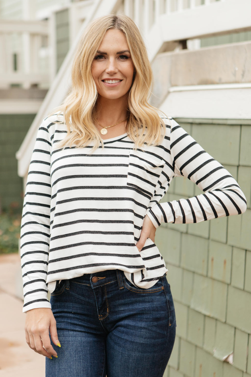 Basically Striped Long Sleeve Top in Ivory and Black-10-15-2020, 1XL, 2XL, 3XL, BFCM2020, Group A, Group B, Group C, Group D, Large, Made in the USA, Medium, Plus, Small, Tops, XL, XS-Womens Artisan USA American Made Clothing Accessories