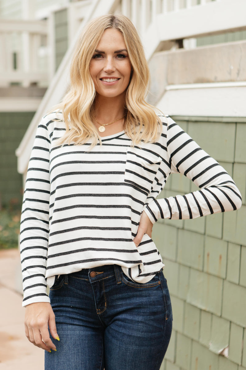 Basically Striped Long Sleeve Top in Ivory and Black-10-15-2020, 1XL, 2XL, 3XL, BFCM2020, Group A, Group B, Group C, Group D, Large, Medium, Plus, Small, Tops, XL, XS-Womens Artisan USA American Made Clothing Accessories