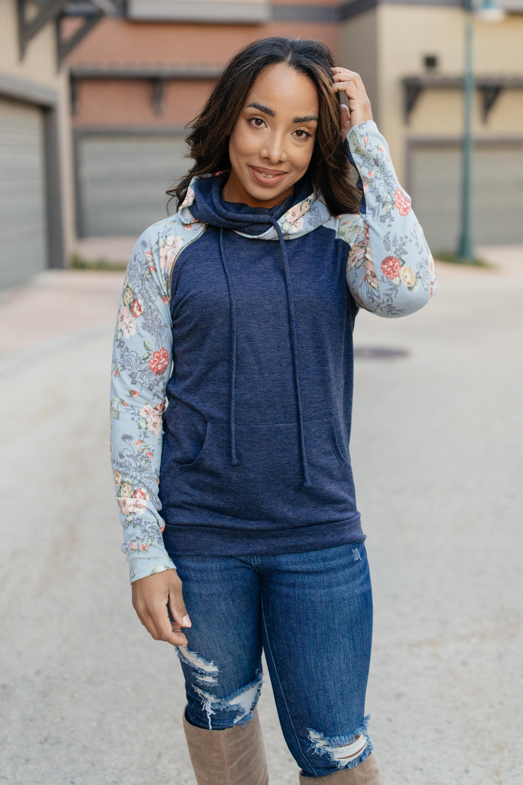 Bits Of Floral And A Zipper Hoodie-11-30-2020, 1XL, 2XL, 3XL, CMDB2020, Group A, Group B, Group C, Large, Medium, Small, Tops, XL, XS-Womens Artisan USA American Made Clothing Accessories