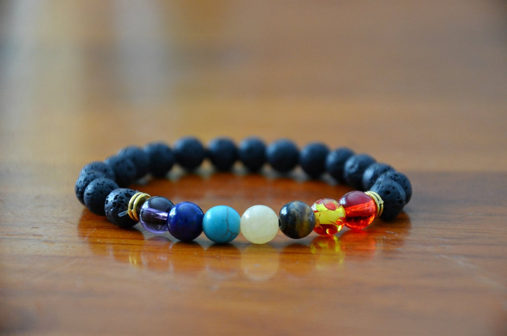Multi-Colored Lava Stone Diffuser Bracelets--Womens Artisan USA American Made Clothing Accessories