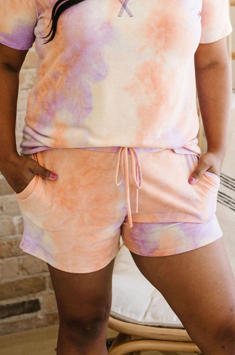 Brushed Knit Tie Dye Lounge Shorts In Coral-1XL, 2XL, 3XL, 8-26-2020, BFCM2020, Bottoms, Group A, Group B, Group C, Group D, Group T, Large, Made in the USA, Medium, Plus, Small, XL, XS-Womens Artisan USA American Made Clothing Accessories
