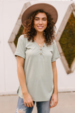 Buttons and Henley Top in Sea Salt-1XL, 2XL, 3XL, 4-1-2021, 4-14-2021, Bonus, Group A, Group B, Group C, Group D, Large, Made in the USA, Medium, Small, Tops-Womens Artisan USA American Made Clothing Accessories