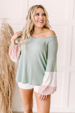 Colorblock Balloon Sleeve Top-1XL, 2XL, 3-25-2021, 3XL, 4-7-2021, Bonus, Group A, Group B, Group C, Group D, Large, Made in the USA, Medium, Small, Tops, XL, XS-Womens Artisan USA American Made Clothing Accessories