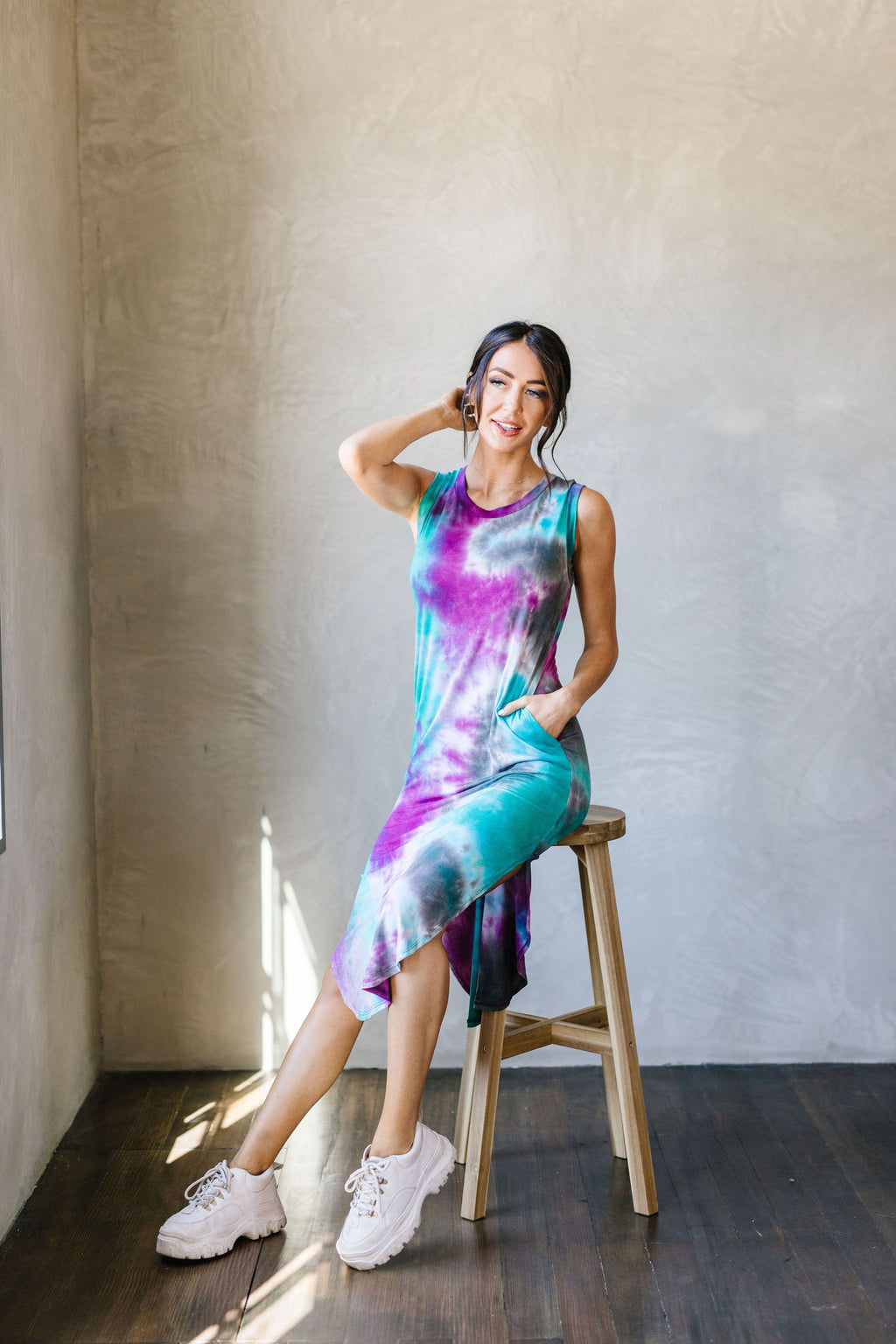 Cool Vibes Tie Dye Midi Dress-1XL, 2XL, 3XL, 8-25-2020, 9-11-2020, BFCM2020, Bonus, Dresses, Group A, Group B, Group C, Group D, Group T, Large, Medium, Plus, Small, XL, XS-Womens Artisan USA American Made Clothing Accessories