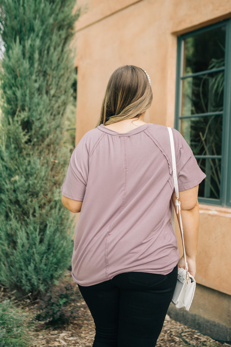 Cozy Cool Tee in Lavender - On Hand-10-1-2020, 1XL, 2XL, 3XL, BFCM2020, Group A, Group B, Group C, Group D, Group S, Group V, Large, Made in the USA, Medium, Plus, Small, Tops, XL, XS-XS-Womens Artisan USA American Made Clothing Accessories