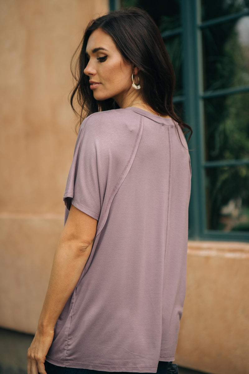 Cozy Cool Tee in Lavender-10-1-2020, 1XL, 2XL, 3XL, Group A, Group B, Group C, Group D, Large, Medium, Plus, Small, Tops, XL, XS-Womens Artisan USA American Made Clothing Accessories