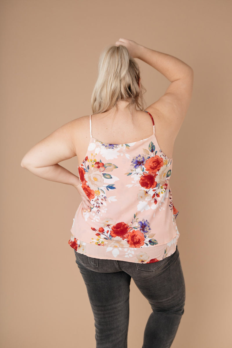 Elegant Floral Camisole In Blush - On Hand-1XL, 2XL, 3XL, 8-20-2020, BFCM2020, Group A, Group B, Group C, Group D, Group T, Large, Made in the USA, Medium, On hand, Plus, Small, Tops, XL, XS-Small-Womens Artisan USA American Made Clothing Accessories