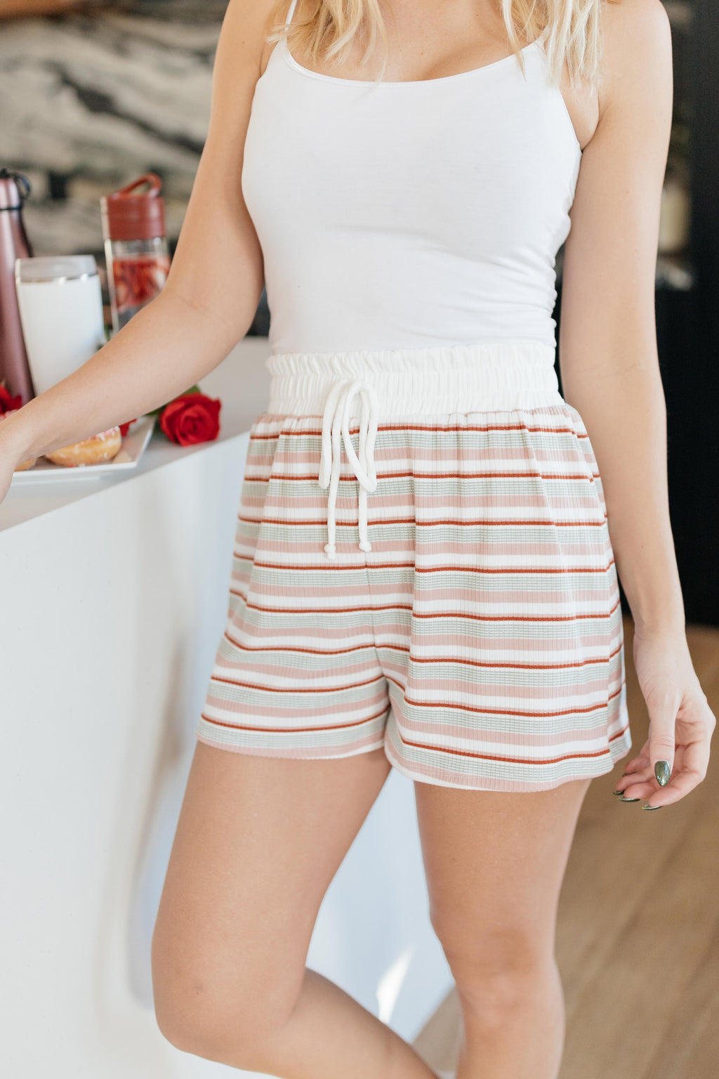 Emery Striped Shorts-1-14-2021, 1XL, 2XL, 3XL, Bottoms, Group A, Group B, Group C, Group T, Group U, Group X, Group Y, Group Z, Large, Made in the USA, Medium, Small, XL, XS-Womens Artisan USA American Made Clothing Accessories