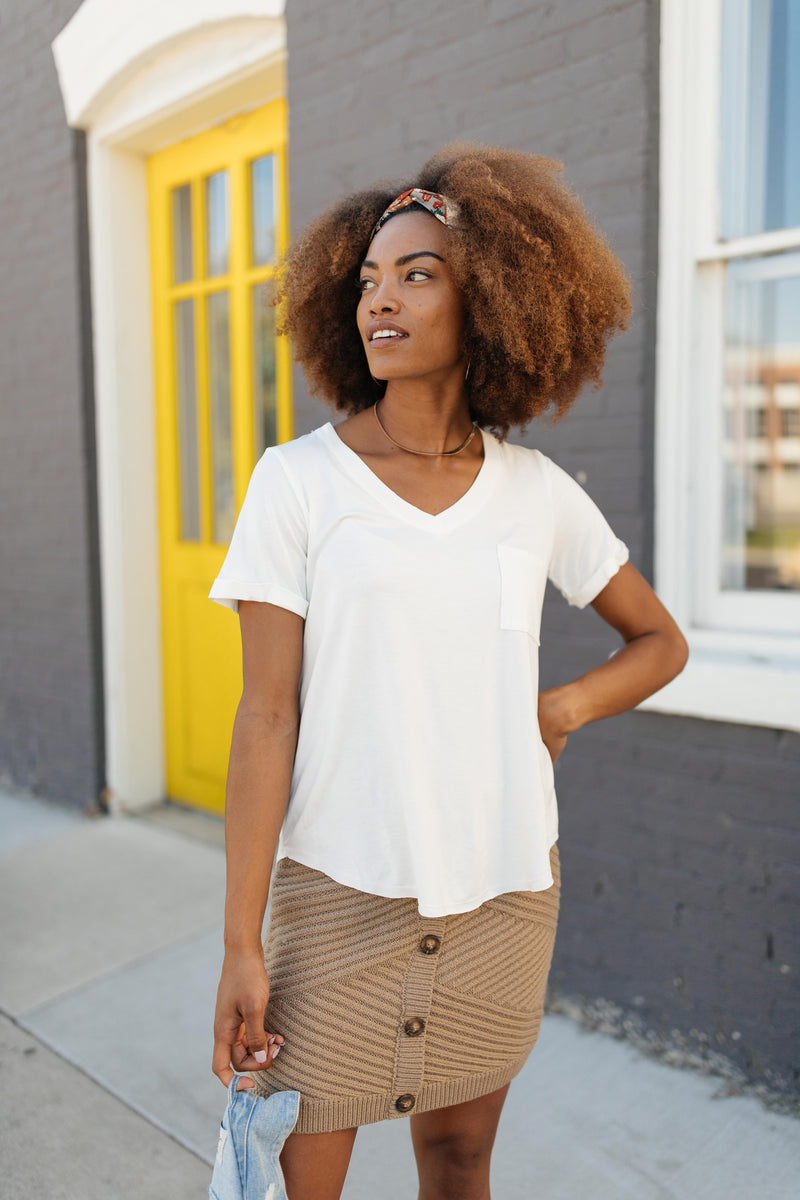 Essential V-Neck Tee In Ivory-10-2-2020, 1XL, 2XL, 3XL, 9-24-2020, Bonus, Group A, Group B, Group C, Group D, Large, Medium, Plus, Small, Tops, XL, XS-Womens Artisan USA American Made Clothing Accessories