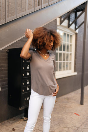 Essential V-Neck Tee In Mocha - On Hand-10-2-2020, 1XL, 2XL, 3XL, 9-24-2020, BFCM2020, Bonus, Final Few Friday, Group A, Group B, Group C, Group D, Group T, Large, Made in the USA, Medium, On hand, Plus, Small, Tops, XL, XS-Small-Womens Artisan USA American Made Clothing Accessories