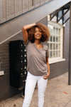 Essential V-Neck Tee In Mocha-10-2-2020, 1XL, 2XL, 3XL, 9-24-2020, BFCM2020, Bonus, Final Few Friday, Group A, Group B, Group C, Group D, Group T, Large, Medium, Plus, Small, Tops, XL, XS-Womens Artisan USA American Made Clothing Accessories
