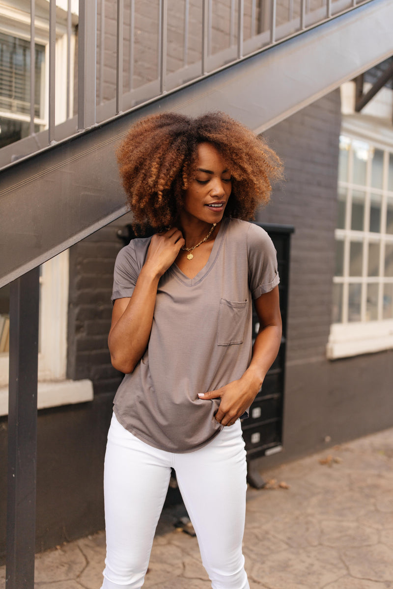 Essential V-Neck Tee In Mocha - On Hand-10-2-2020, 1XL, 2XL, 3XL, 9-24-2020, BFCM2020, Bonus, Final Few Friday, Group A, Group B, Group C, Group D, Group T, Large, Medium, On hand, Plus, Small, Tops, XL, XS-Small-Womens Artisan USA American Made Clothing Accessories