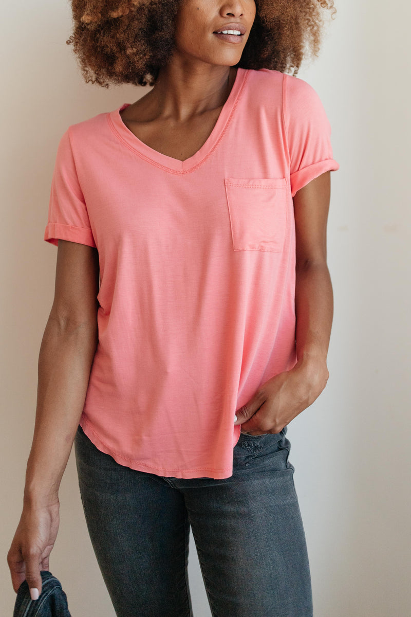 Essential V-Neck Tee In Pink-10-2-2020, 1XL, 2XL, 3XL, 9-24-2020, BFCM2020, Bonus, Group A, Group B, Group C, Group D, Group S, Group T, Group X, Group Z, Large, Medium, Plus, Small, Tops, XL, XS-Womens Artisan USA American Made Clothing Accessories