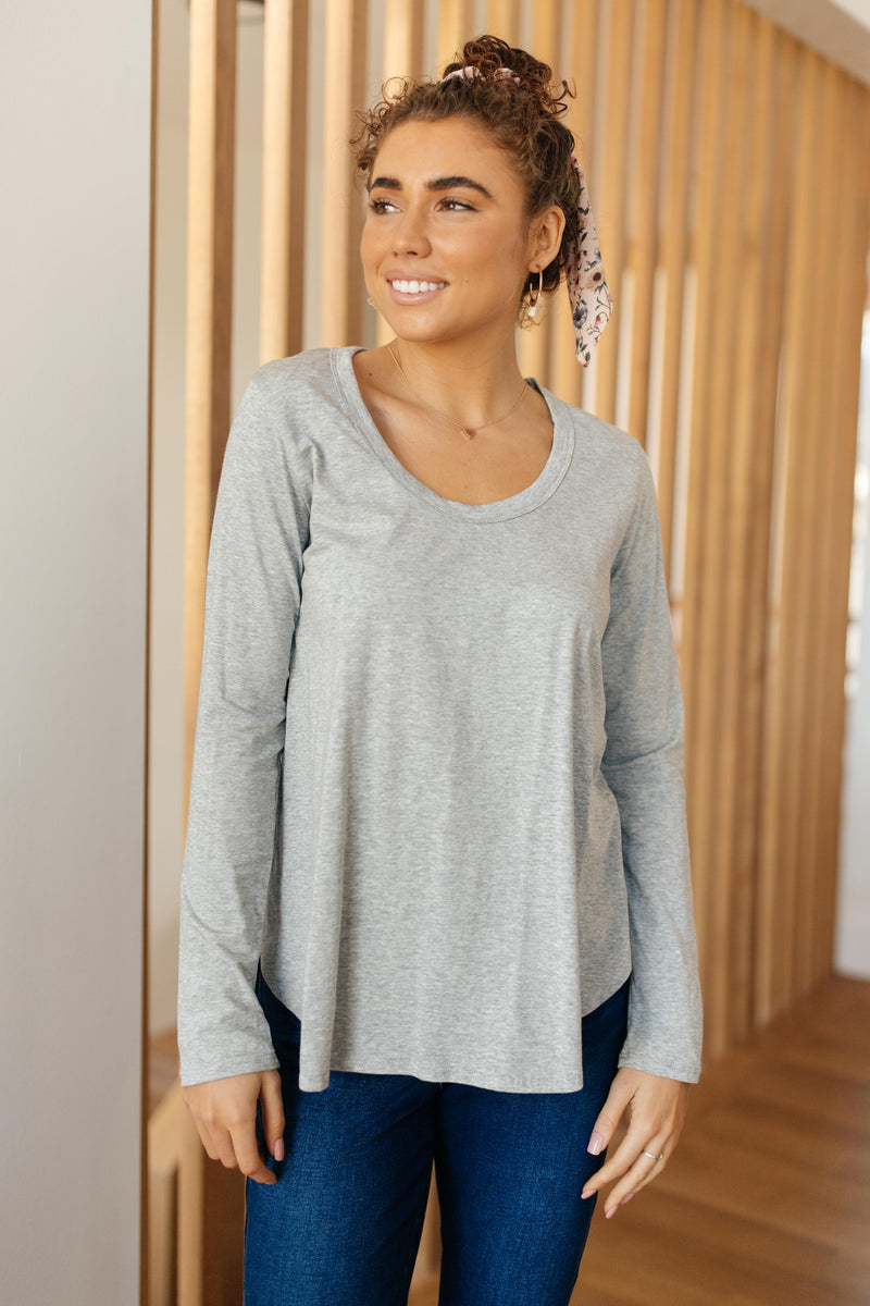 Every Girl's Favorite Basic Top in Heather Gray-1XL, 2-19-2021, 2-9-2021, 2XL, 3XL, Bonus, Group A, Group B, Group C, Large, Made in the USA, Medium, Small, Tops, XL, XS-Womens Artisan USA American Made Clothing Accessories