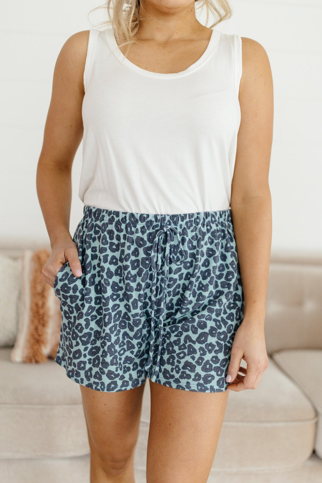 Feelin' Blue Lounge Shorts-1XL, 2XL, 3-2-2021, 3XL, Bottoms, Group A, Group B, Group C, Large, Made in the USA, Medium, Small, XL, XS-Womens Artisan USA American Made Clothing Accessories