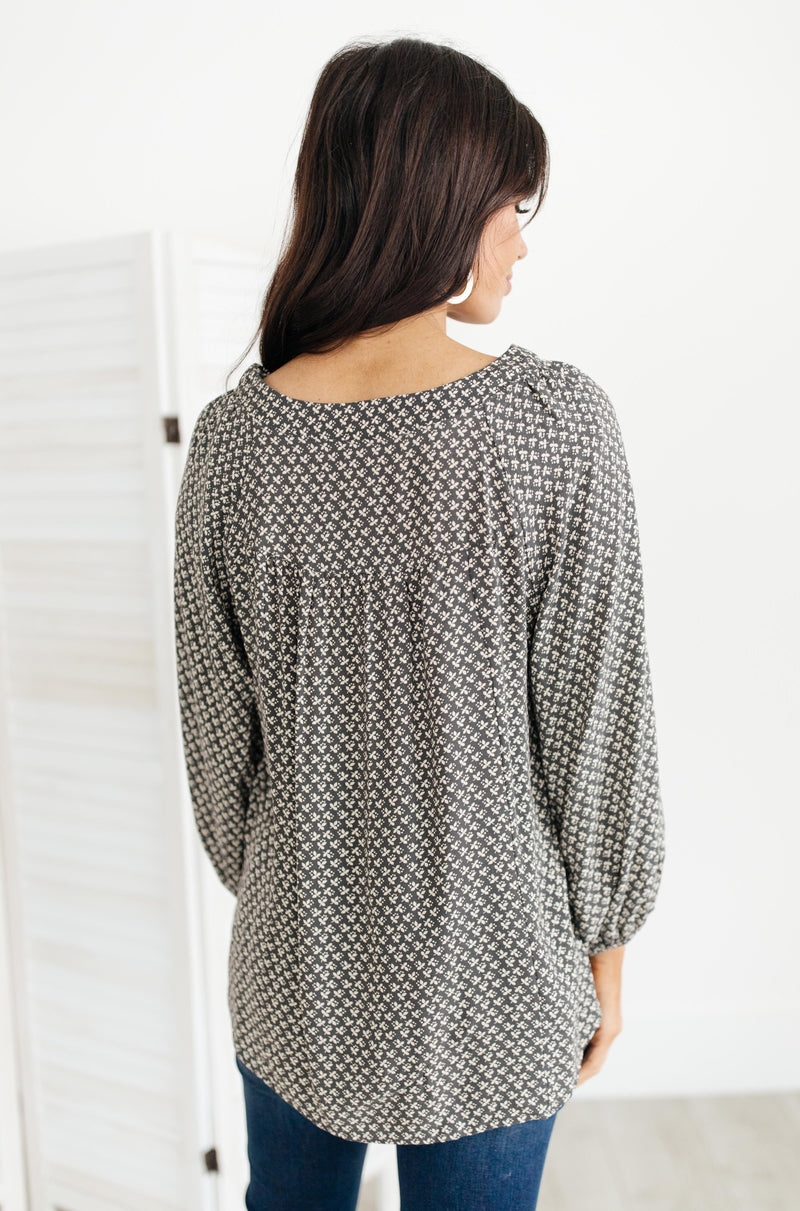 Feelin' The Breeze Blouse in Charcoal-1XL, 2-18-2021, 2XL, 3XL, Group A, Group B, Group C, Large, Made in the USA, Medium, Small, Tops, XL, XS-Womens Artisan USA American Made Clothing Accessories