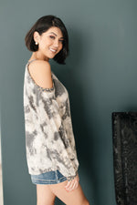 First Of The Season Tie Dye Top in Grey-1-28-2021, 1XL, 2XL, 3XL, Group A, Group B, Group C, Large, Made in the USA, Medium, Small, Tops, XL, XS-Womens Artisan USA American Made Clothing Accessories