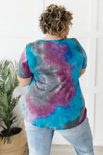 Forever in Love Tee in Teal and Purple-1XL, 2XL, 3-2-2021, 3XL, FeaturedMay2021w1, Group A, Group B, Group C, Group D, Large, Made in the USA, Medium, Small, Tops, XL, XS-Womens Artisan USA American Made Clothing Accessories