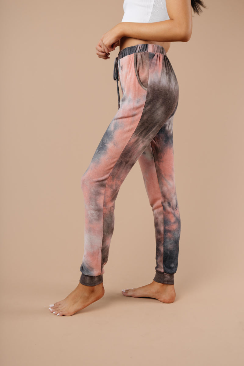 Forgotten Dreams Tie Dye Joggers In Mauve-1XL, 2XL, 3XL, 9-10-2020, Bottoms, Group A, Group B, Group C, Large, Medium, Plus, Small, XL, XS-Womens Artisan USA American Made Clothing Accessories