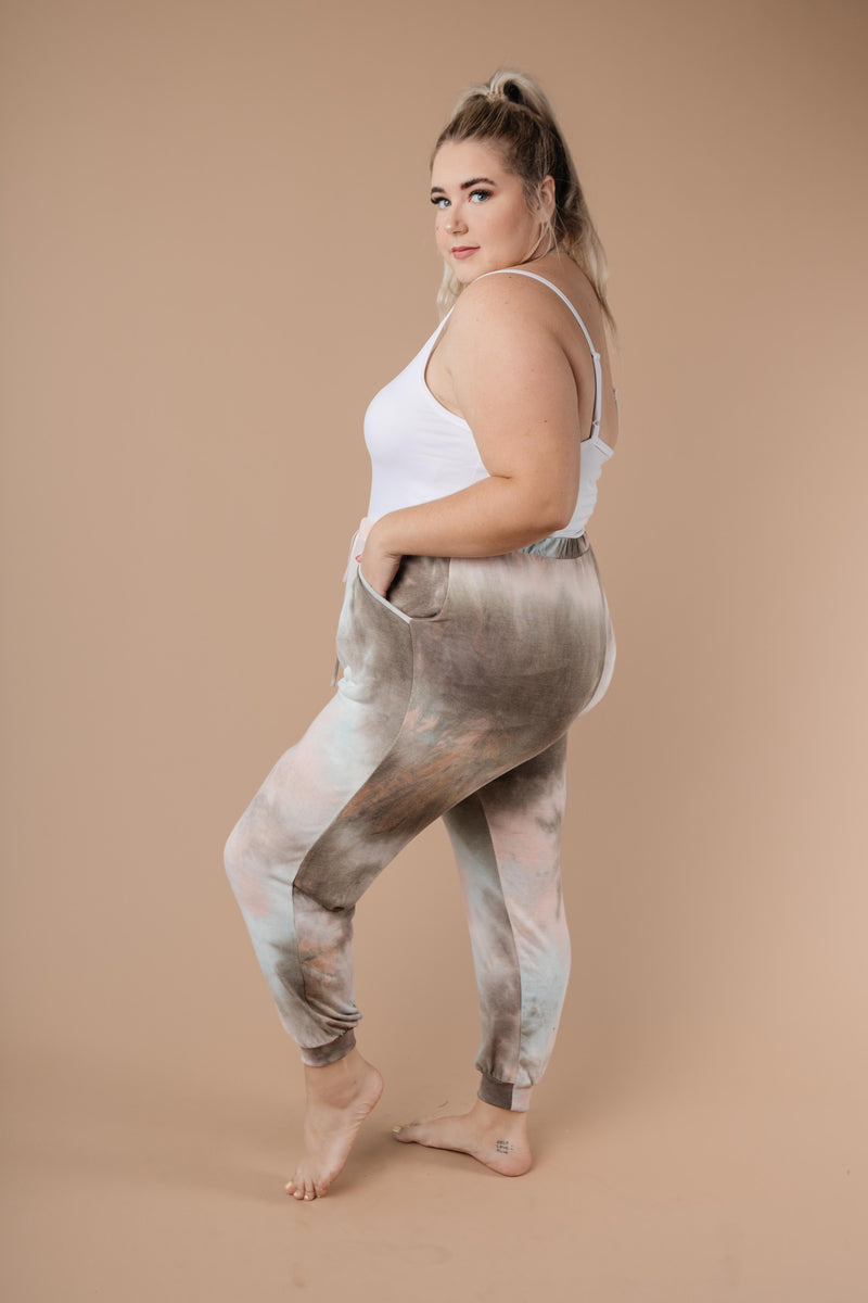 Forgotten Dreams Tie Dye Joggers In Taupe-1XL, 2XL, 3XL, 9-8-2020, Bottoms, Group A, Group B, Group C, Large, Medium, Plus, Small, XL, XS-Womens Artisan USA American Made Clothing Accessories