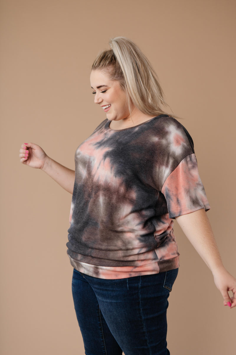 Forgotten Dreams Tie Dye Top In Mauve-1XL, 2XL, 3XL, 9-10-2020, BFCM2020, FeaturedMar2021w1, Group A, Group B, Group C, Group D, Group S, Group T, Large, Made in the USA, Medium, Plus, Small, Tops, Warehouse Sale, XL, XS-Womens Artisan USA American Made Clothing Accessories