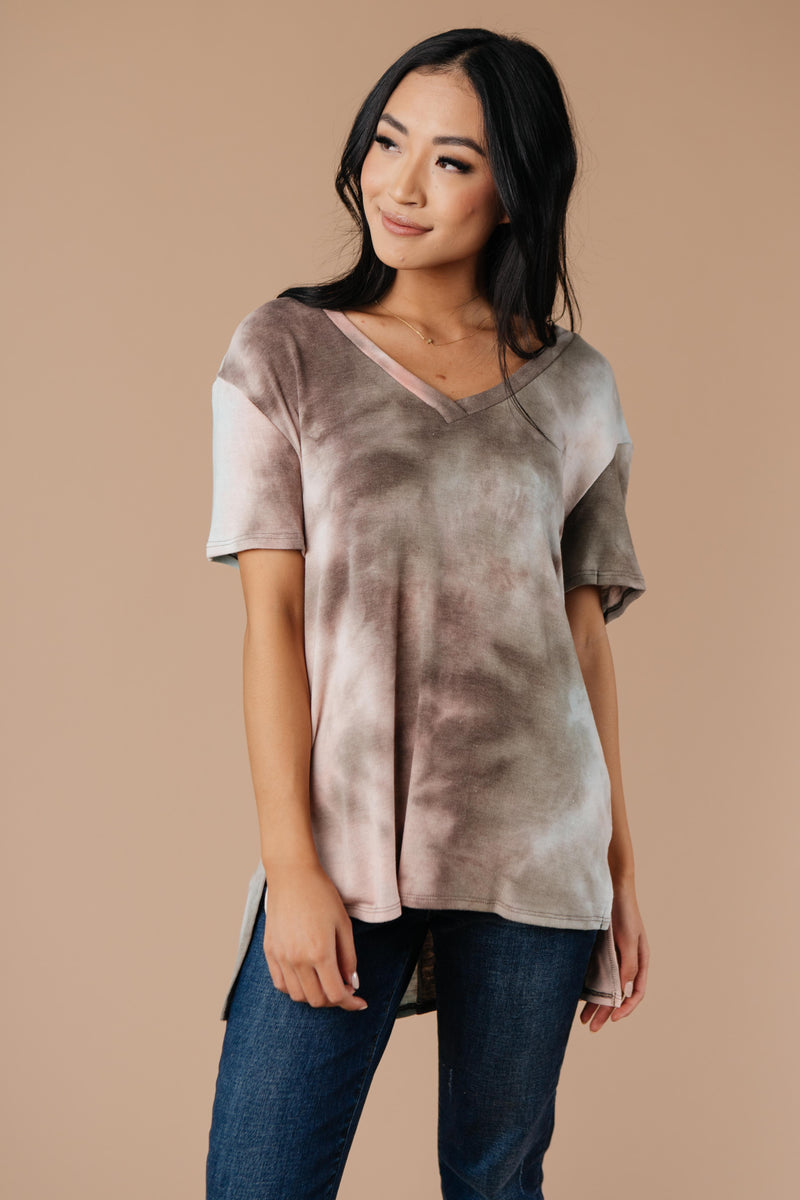 Forgotten Dreams Tie Dye Top In Taupe-1XL, 2XL, 3XL, 9-8-2020, BFCM2020, Group A, Group B, Group C, Group D, Group S, Group T, Large, Made in the USA, Medium, Plus, Small, Tops, Warehouse Sale, XL, XS-Womens Artisan USA American Made Clothing Accessories