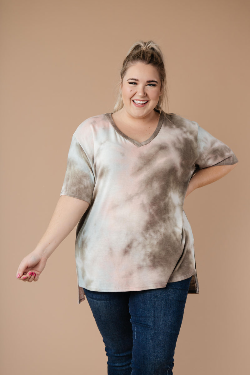 Forgotten Dreams Tie Dye Top In Taupe-1XL, 2XL, 3XL, 9-8-2020, BFCM2020, Group A, Group B, Group C, Group D, Group S, Group T, Large, Medium, Plus, Small, Tops, Warehouse Sale, XL, XS-Womens Artisan USA American Made Clothing Accessories