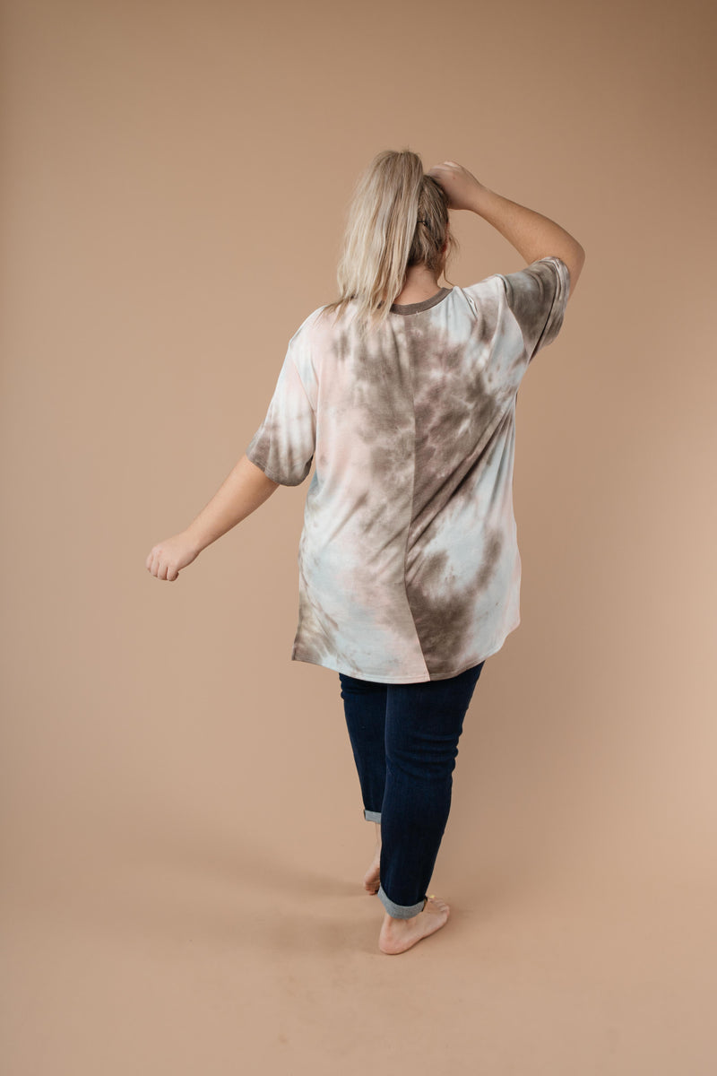 Forgotten Dreams Tie Dye Top In Taupe-1XL, 2XL, 3XL, 9-8-2020, Group A, Group B, Group C, Large, Medium, Plus, Small, Tops, XL, XS-Womens Artisan USA American Made Clothing Accessories