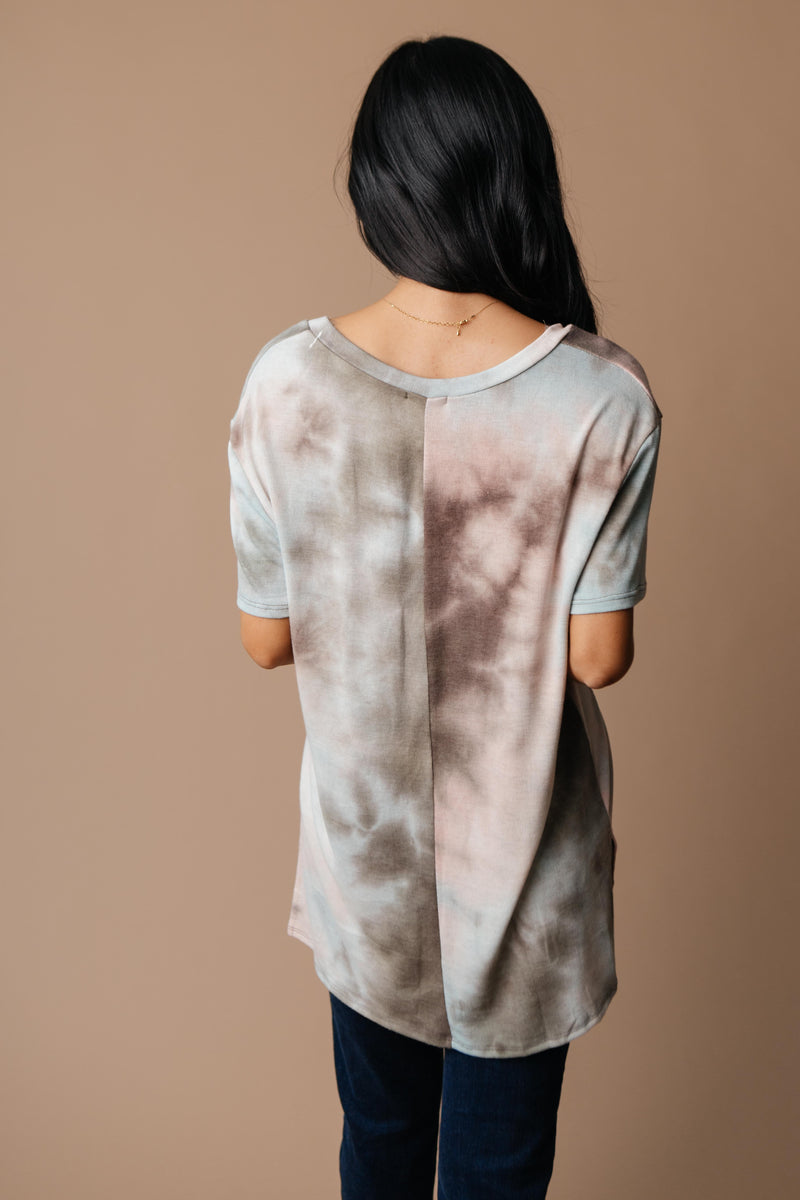 Forgotten Dreams Tie Dye Top In Taupe-1XL, 2XL, 3XL, 9-8-2020, Group A, Group B, Group C, Group D, Group S, Large, Medium, Plus, Small, Tops, Warehouse Sale, XL, XS-Womens Artisan USA American Made Clothing Accessories