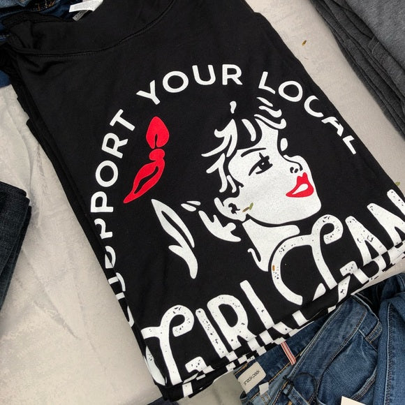 Support Your Local Girl Gang Tee-black, girl gang, graphic tee, scoop neck, Vintage-Womens Artisan USA American Made Clothing Accessories
