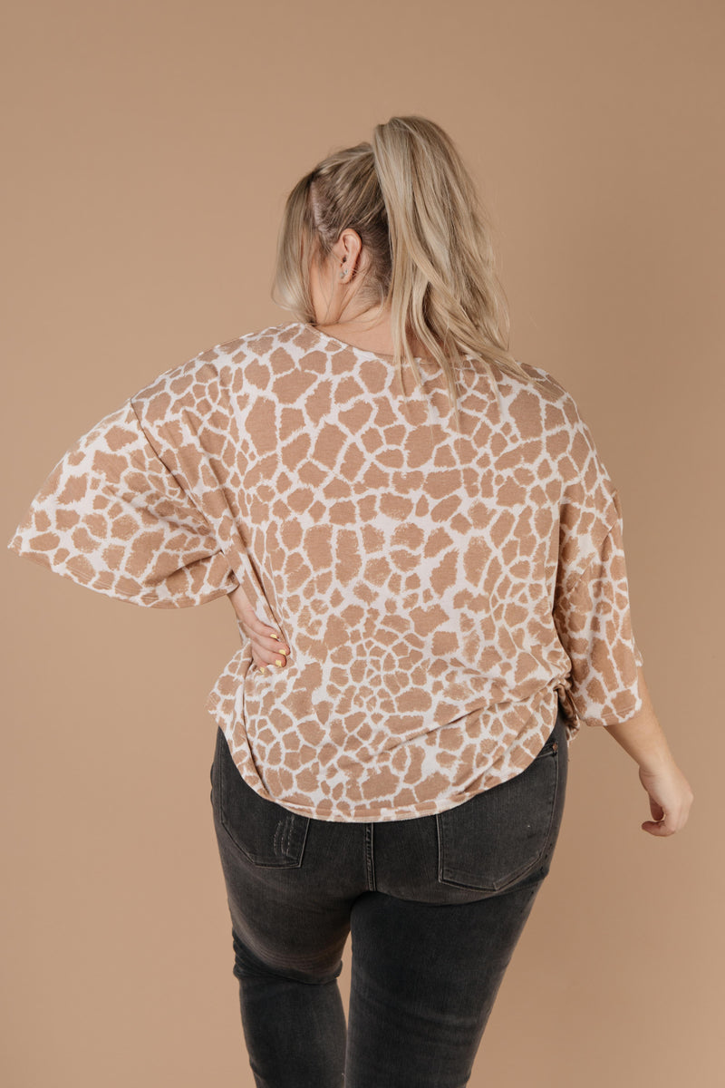 Giraffe Print Bell Sleeve Top-1XL, 2XL, 3XL, 9-1-2020, Group A, Group B, Group C, Group D, Large, Medium, Plus, Small, Tops, Warehouse Sale, XL, XS-Womens Artisan USA American Made Clothing Accessories
