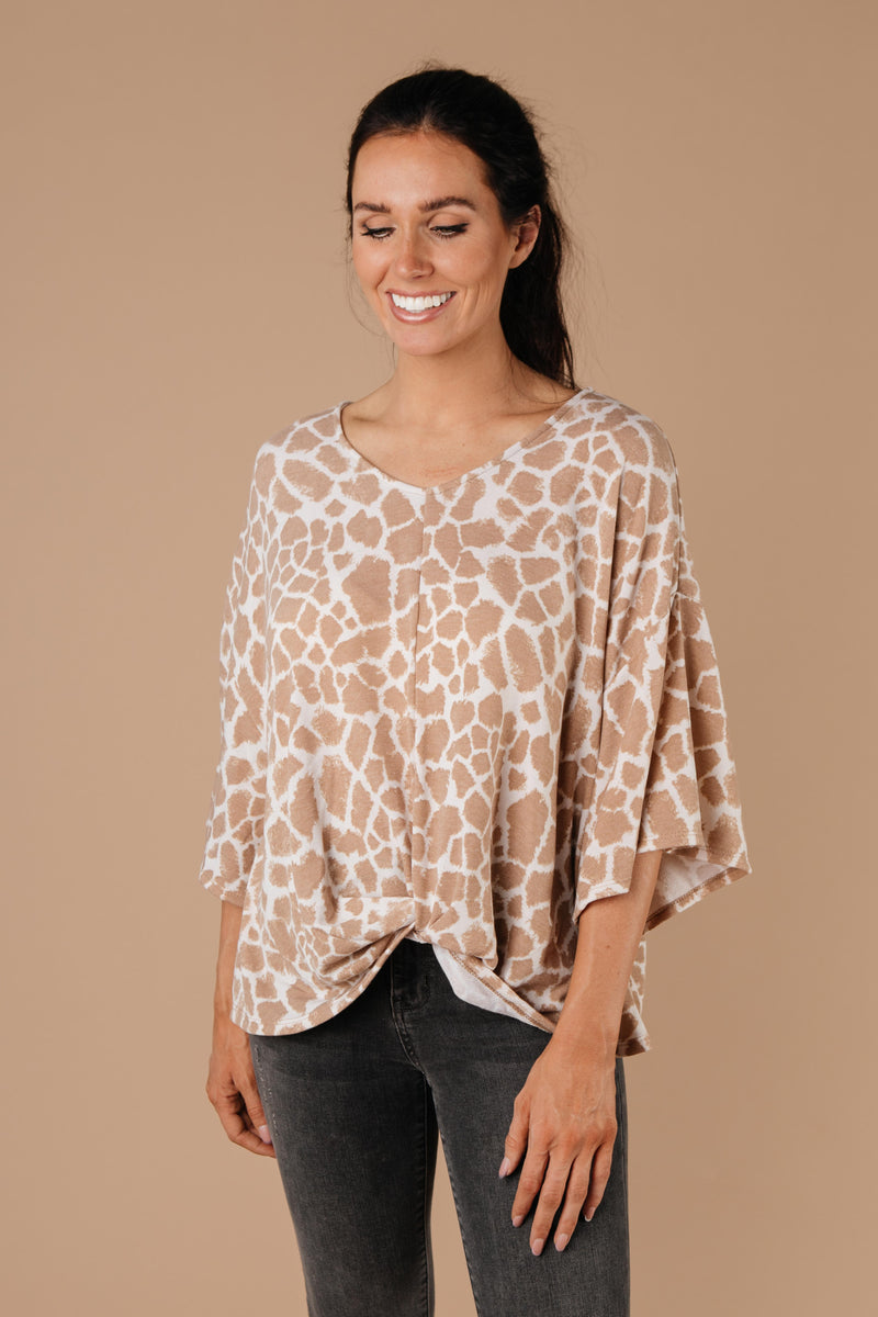 Giraffe Print Bell Sleeve Top-1XL, 2XL, 3XL, 9-1-2020, BFCM2020, Group A, Group B, Group C, Group D, Group T, Group V, Group X, Large, Medium, Plus, Small, Tops, Warehouse Sale, XL, XS-Womens Artisan USA American Made Clothing Accessories