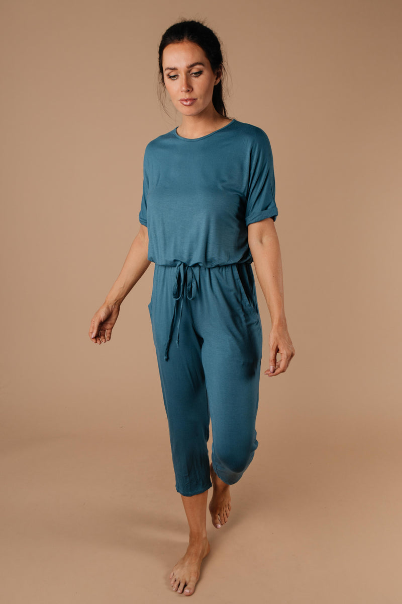 Girl Next Door Jumpsuit In Jade-1XL, 2XL, 3XL, 9-3-2020, BFCM2020, Bottoms, Group A, Group B, Group C, Group D, Group T, Large, Medium, Plus, Small, Warehouse Sale, XL, XS-Womens Artisan USA American Made Clothing Accessories