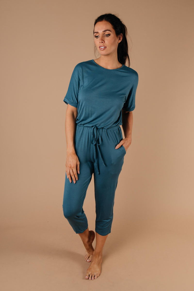 Girl Next Door Jumpsuit In Jade-1XL, 2XL, 3XL, 9-3-2020, BFCM2020, Bottoms, FeaturedFeb2021r2, Group A, Group B, Group C, Group D, Group T, Large, Made in the USA, Medium, Plus, Small, Warehouse Sale, XL, XS-Womens Artisan USA American Made Clothing Accessories