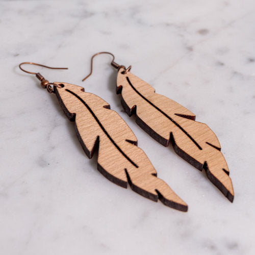 Grace Cherry Wood Leaf-accessories, earrings, jewelry-Womens Artisan USA American Made Clothing Accessories