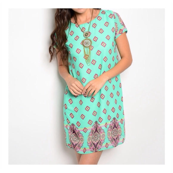 Mint Print Dress-Chiffon, Mint, Shift dress, Summer-Small-Womens Artisan USA American Made Clothing Accessories