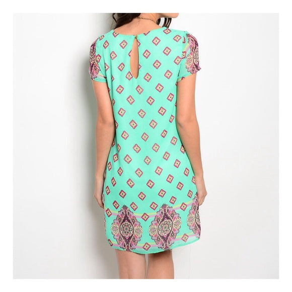 Mint Print Dress-Chiffon, Made in the USA, Mint, Shift dress, Summer-Small-Womens Artisan USA American Made Clothing Accessories