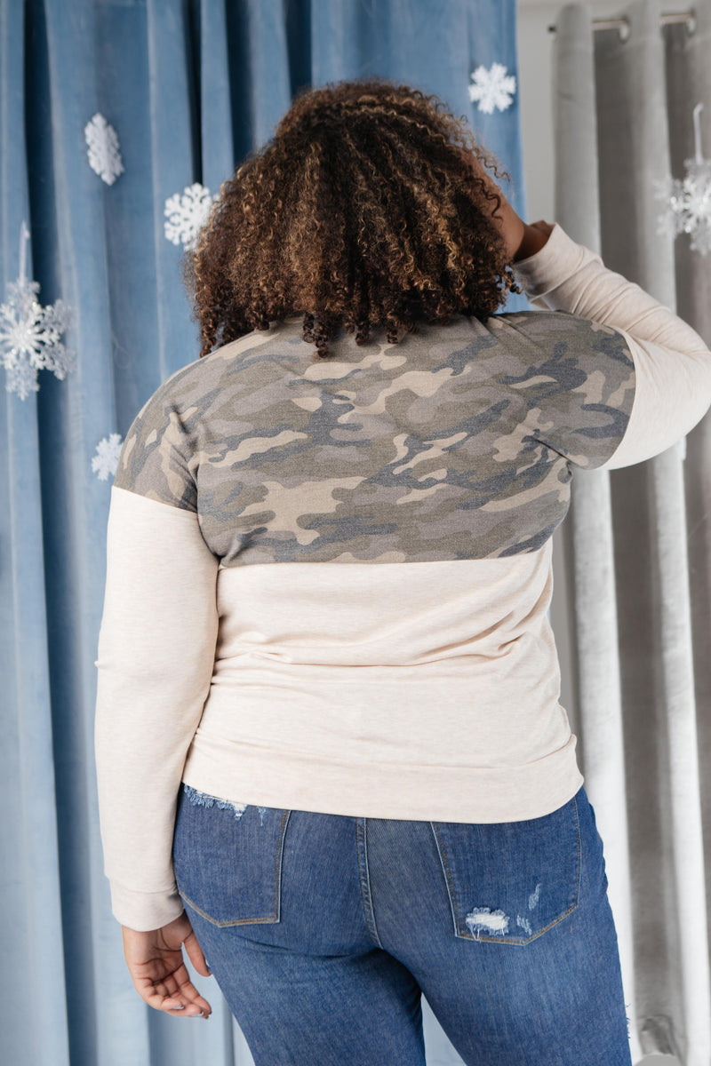 Half Camo Pullover in Oatmeal-11-27-2020, 1XL, 2XL, 3XL, BFDB2020, Group A, Group B, Group C, Group V, Group X, Large, Medium, Small, Tops, XL, XS-Womens Artisan USA American Made Clothing Accessories