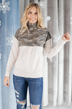 Half Camo Pullover in Oatmeal-11-27-2020, 1XL, 2XL, 3XL, BFDB2020, Group A, Group B, Group C, Group V, Group X, Group Z, Large, Medium, Small, Tops, XL, XS-Womens Artisan USA American Made Clothing Accessories
