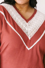 Happy in My Lace Blouse in Brick-1XL, 2XL, 3XL, 4-22-2021, 5-5-2021, Bonus, Group A, Group B, Group C, Large, Made in the USA, Medium, Small, Tops, XL, XS-Womens Artisan USA American Made Clothing Accessories